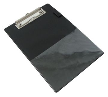 RAPESCO A5 CLIPBOARD BLACK PVC COVERED CLIP BOARD with Pen Holder & Clear Pocket